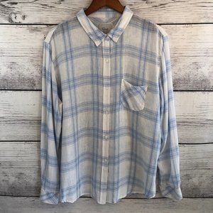 Rails Plaid Button Down Shirt XL Blue White Linen